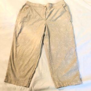 Chico's Capri Cotton Pants Floral Vine Size 1 Tan